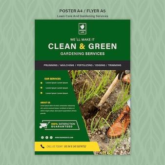Szablon plakatu koncepcja pielęgnacji trawnika