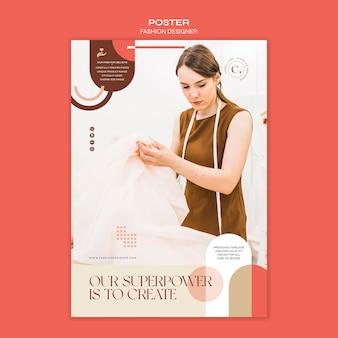Szablon plakatu koncepcja projektanta mody