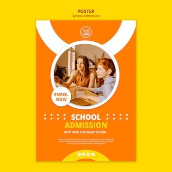 Szablon plakatu koncepcja przyjęcia do szkoły