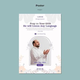 Szablon plakatu koncepcja religii