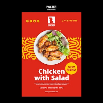 Szablon plakatu koncepcja restauracji