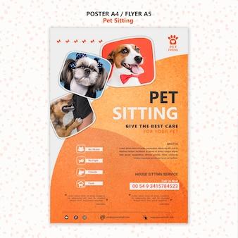 Szablon plakatu koncepcja siedzącego zwierzaka