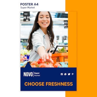 Szablon plakatu koncepcja supermarketu