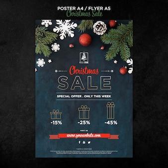 Szablon plakatu koncepcja świątecznej sprzedaży