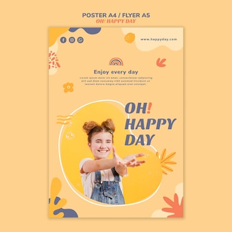Szablon plakatu koncepcja szczęśliwy dzień