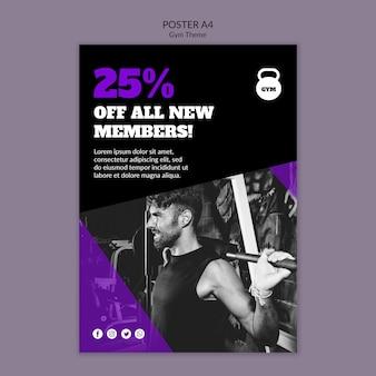Szablon plakatu koncepcja tematu siłowni