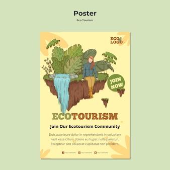 Szablon plakatu koncepcja turystyki ekologicznej