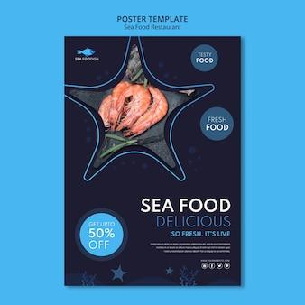 Szablon plakatu koncepcja żywności morza