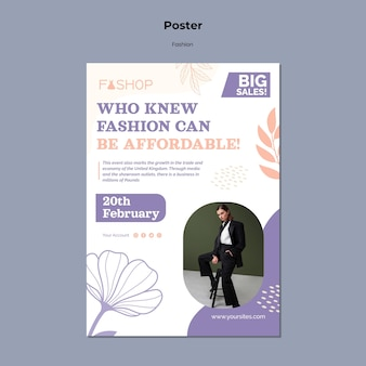 Szablon plakatu koncepcji mody