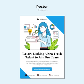 Szablon plakatu koncepcji rekrutacji