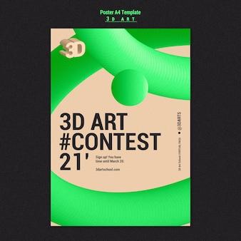 Szablon plakatu konkursu artystycznego 3d