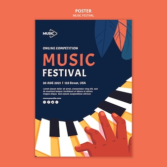 Szablon plakatu konkursu online festiwalu muzyki