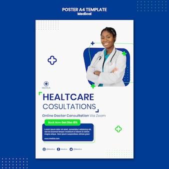 Szablon plakatu konsultacji opieki zdrowotnej