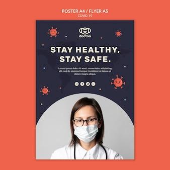 Szablon plakatu koronawirusa ze zdjęciem lekarza