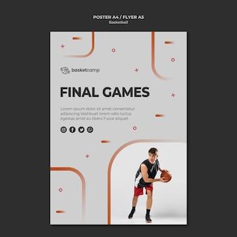 Szablon plakatu koszykówki ostatnich gier
