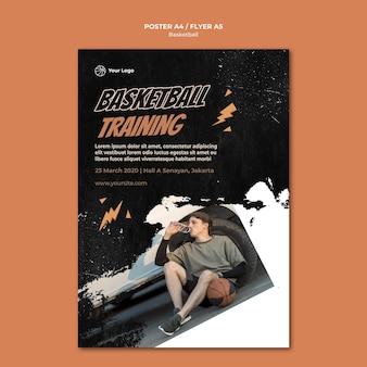 Szablon plakatu koszykówki z efektem zdjęcia i kurzu