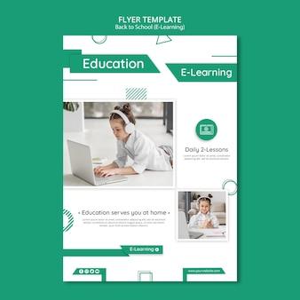 Szablon plakatu kreatywnego e-learningu ze zdjęciem