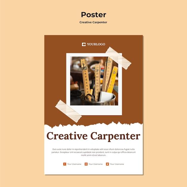 Szablon plakatu kreatywnych stolarz