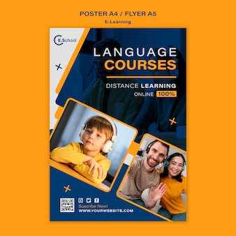 Szablon plakatu kursów językowych