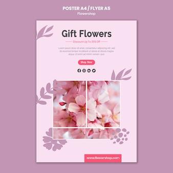 Szablon plakatu kwiaty na prezent