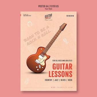 Szablon plakatu lekcje gry na gitarze