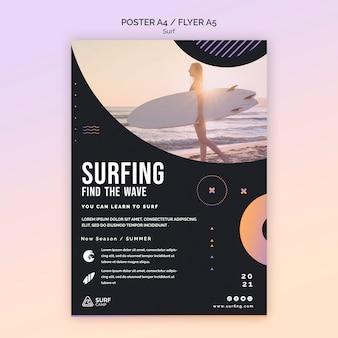 Szablon plakatu lekcji surfingu ze zdjęciem