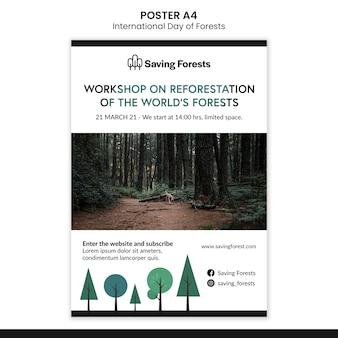 Szablon plakatu międzynarodowego dnia lasów