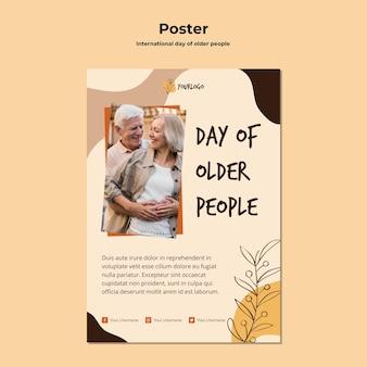 Szablon Plakatu Międzynarodowego Dnia Osób Starszych Darmowe Psd