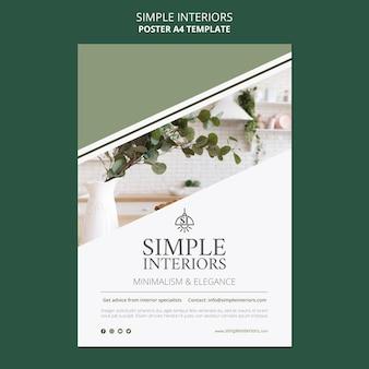 Szablon plakatu minimalistyczne wnętrza