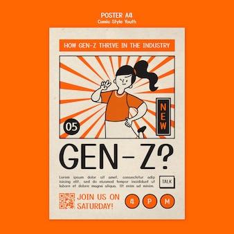 Szablon plakatu młodzieżowego w stylu komiksu