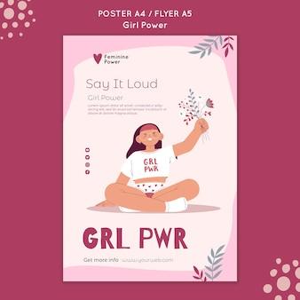 Szablon plakatu mocy dziewczyny