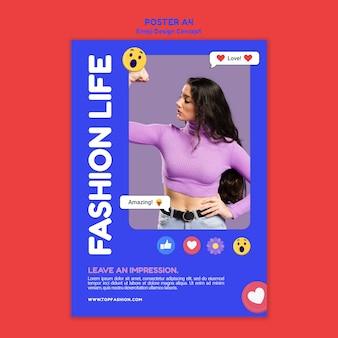 Szablon plakatu modnego życia codziennego mody