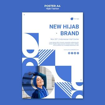 Szablon plakatu mody hidżabu