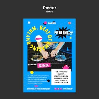 Szablon plakatu muzyki dj