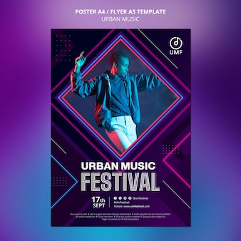 Szablon plakatu muzyki miejskiej