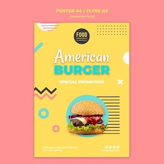 Szablon plakatu na amerykańskie jedzenie z burgerem