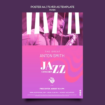 Szablon plakatu na festiwal jazzowy i klub