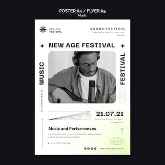 Szablon plakatu na festiwal muzyczny new age