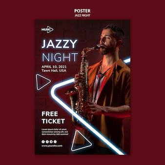 Szablon plakatu na imprezę neonową noc jazzową