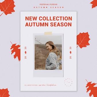 Szablon plakatu na jesienną nową kolekcję odzieży