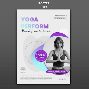 Szablon plakatu na lekcje jogi