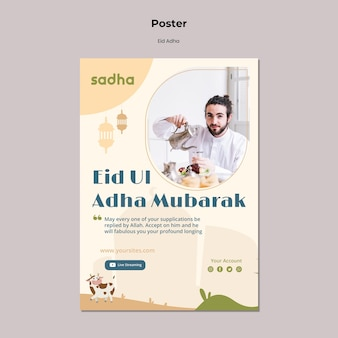 Szablon plakatu na obchody eid al-adha