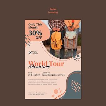 Szablon plakatu na plecak podróżujący z parą