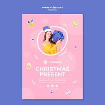 Szablon plakatu na prezenty świąteczne