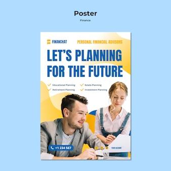 Szablon plakatu na seminarium biznesowe i finansowe