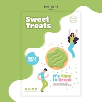 Szablon plakatu na słodkie pieczone pączki