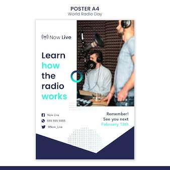 Szablon plakatu na światowy dzień radia