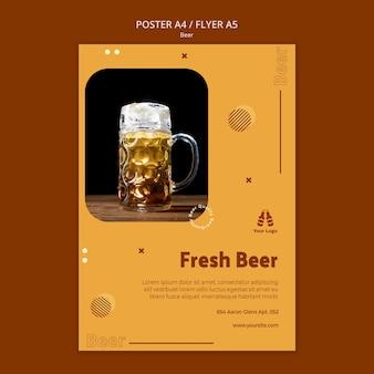 Szablon plakatu na świeże piwo