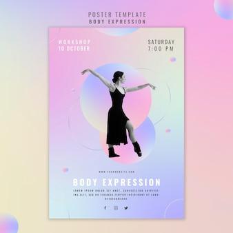 Szablon plakatu na warsztaty ekspresji ciała