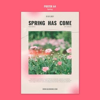 Szablon plakatu na wiosnę z kwiatami